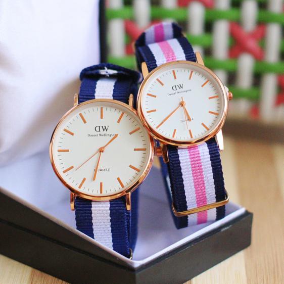 jam tangan couple Dw murah / jtr 241 biru & pink BEST SELLER