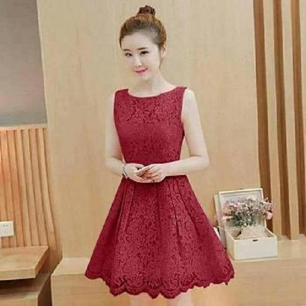 Beli Mj Dress Berlina Maroon Baru
