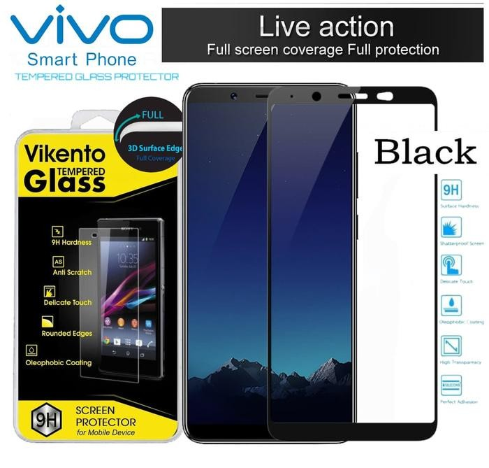 Tempered Glass Color Full Cover Screen Protector Film Guard For Vivo Y65 - Black .