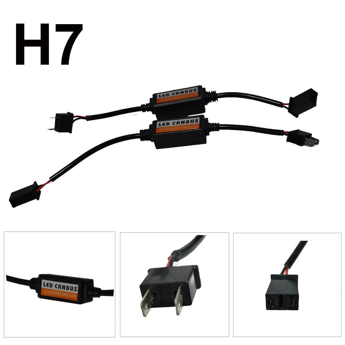 2Pcs Car Canbus Error Free Plug & Play Computer Warning Canceller For H7 LED Headlight Anti Flicker