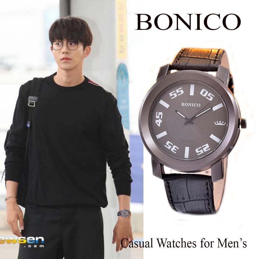 JamTangan Pria Casual BONICO Original Brand - BNC1547G-LEATHER BAND