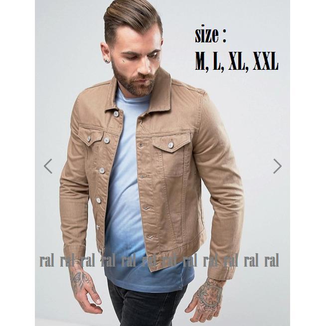 RAL - jaket jeans denim pria brown gold (coklat) / BEST SELLER