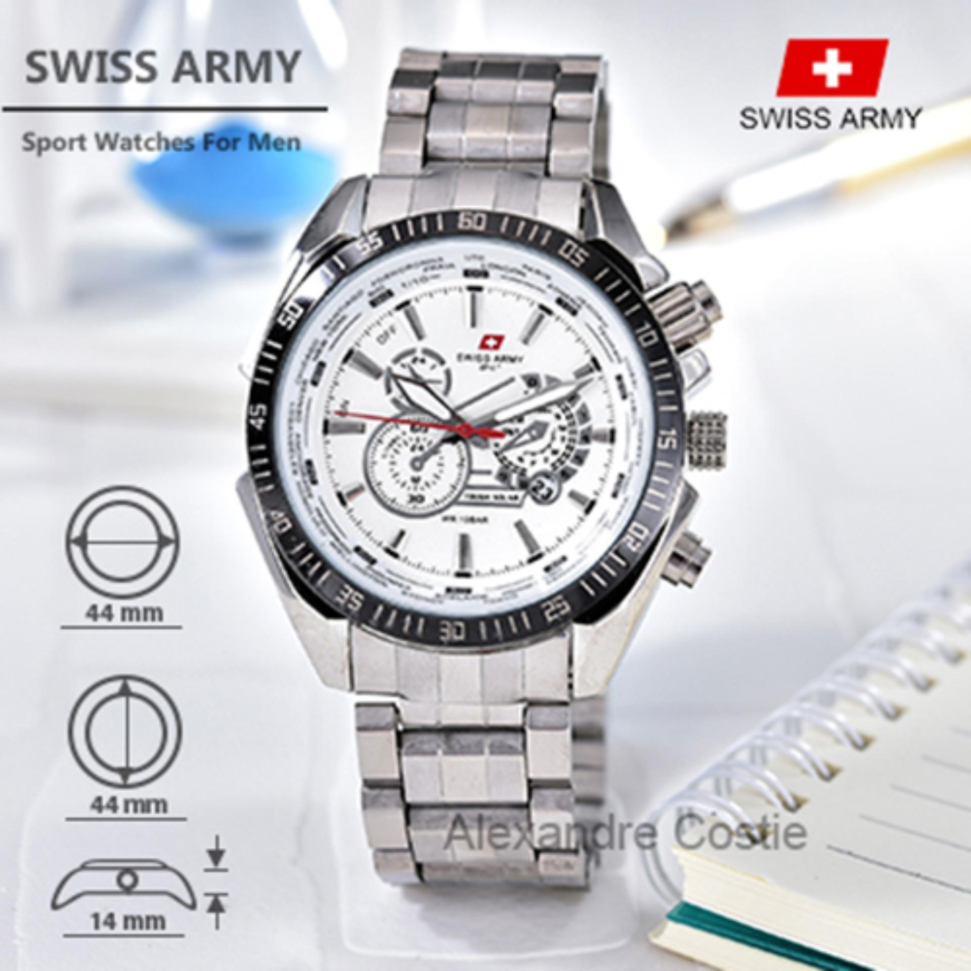 Swiss Army - Sport Watches - Jam Tangan Pria - Stainless Steel Band - SA-