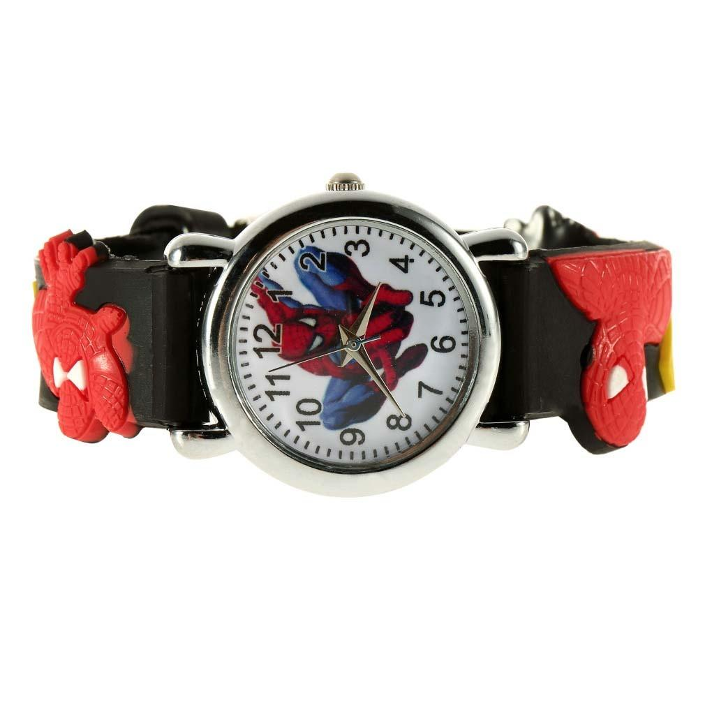 Ormano - Jam Tangan Anak - Hitam - Strap Karet - Spiderman Boy Watch