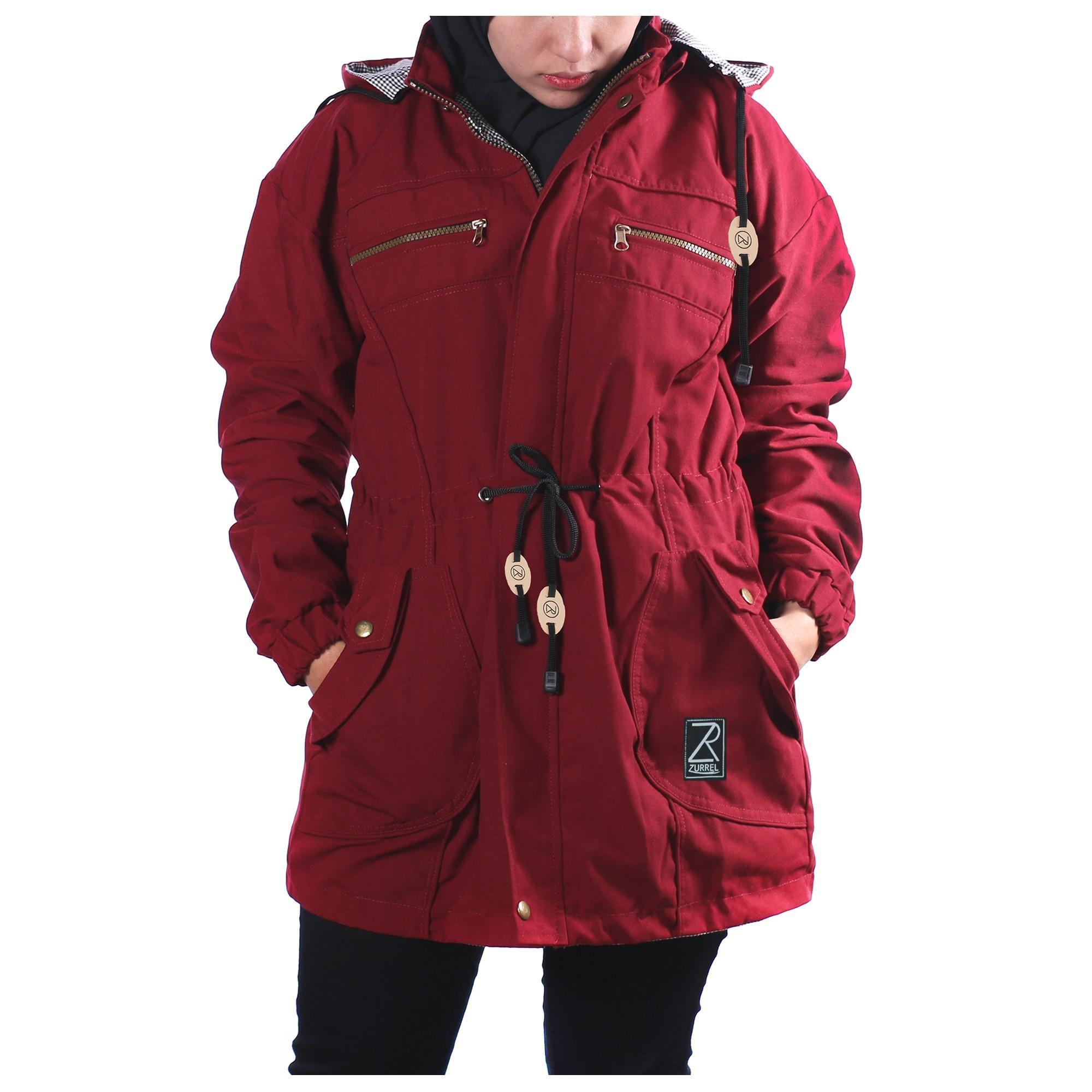Harga Jaket Parka Mantel Wanita Zurrel Canvas Premium Marun Yang Bagus