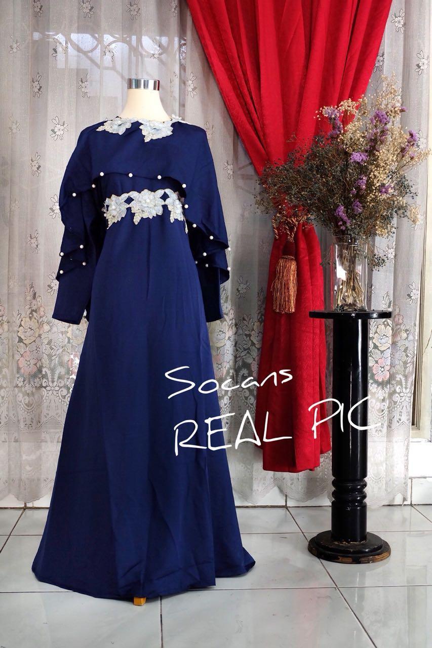 Fitur Maxi Benive Gamis Cantik Gaun Pesta Kondangan Lebaran Long Baju Koko Bordir Sandi Detail Gambar Dress Mewah Muslim Terbaru