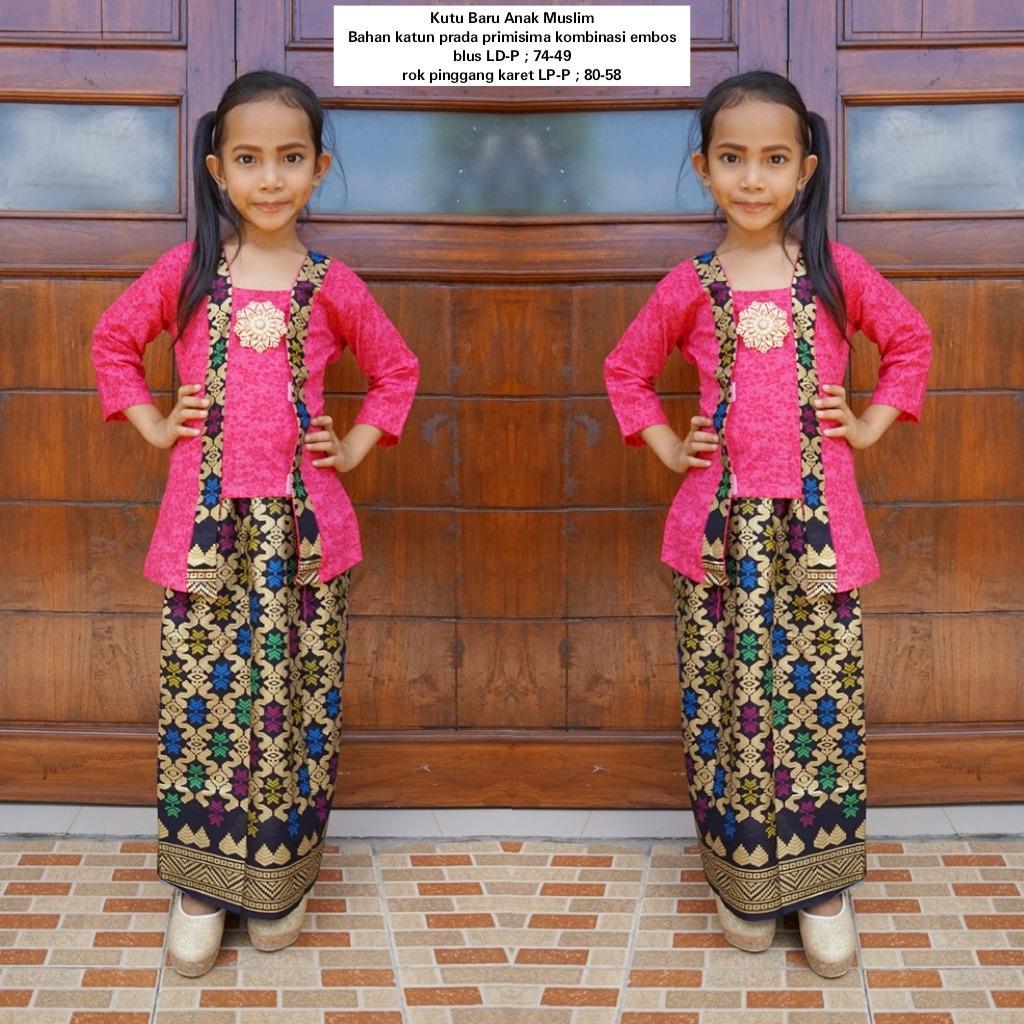 setelan baju muslim anak perempuan bahan katun warna pink BAC31