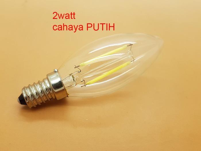 2 watt cahaya PUTIH E14 LAMPU BOHLAM LED EDISON FILAMENT BULB