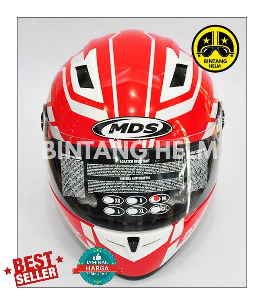... Helm Full Face MDS Provent Motif Red White - 4
