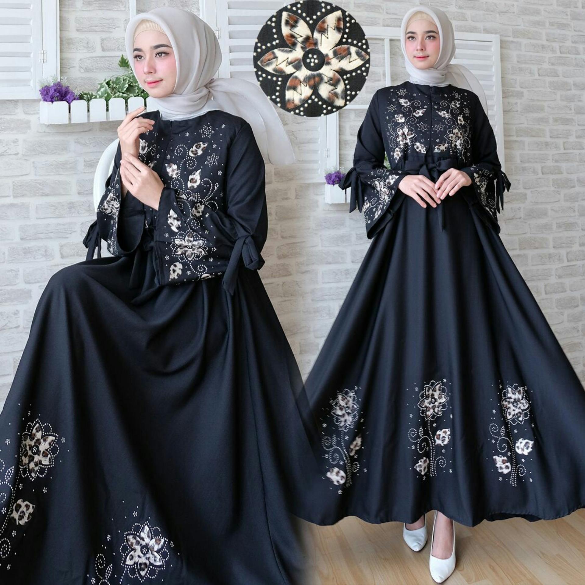Toko Snowshop Gamis Syari Flower Black Snowshop