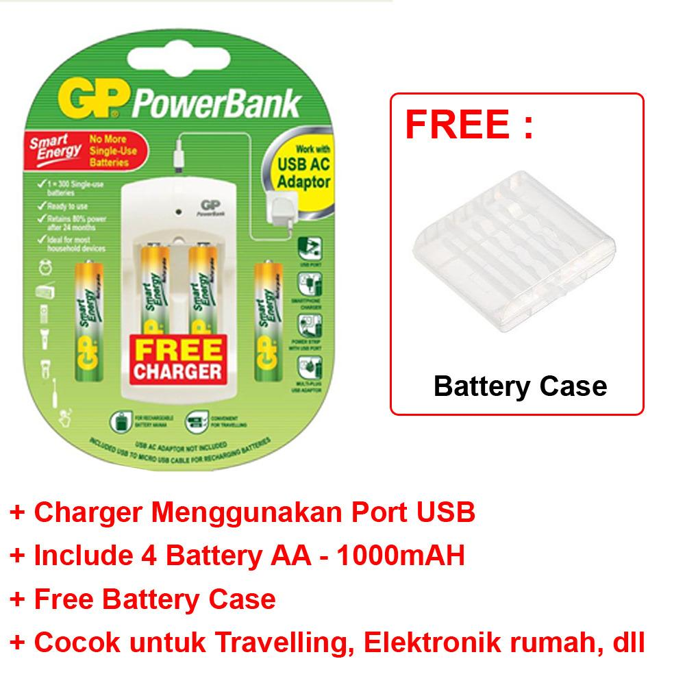 Beli Gp Travel Usb Charger 2 Slot 4 Battery Aa Rechargeable 1000Mah Free Battery Case Yang Bagus