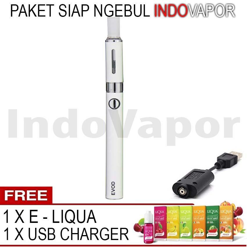 Evod Vape Rokok Elektrik Vaporizer 2ml 1100mah + Free E-Liqua Rasa Random - Warna