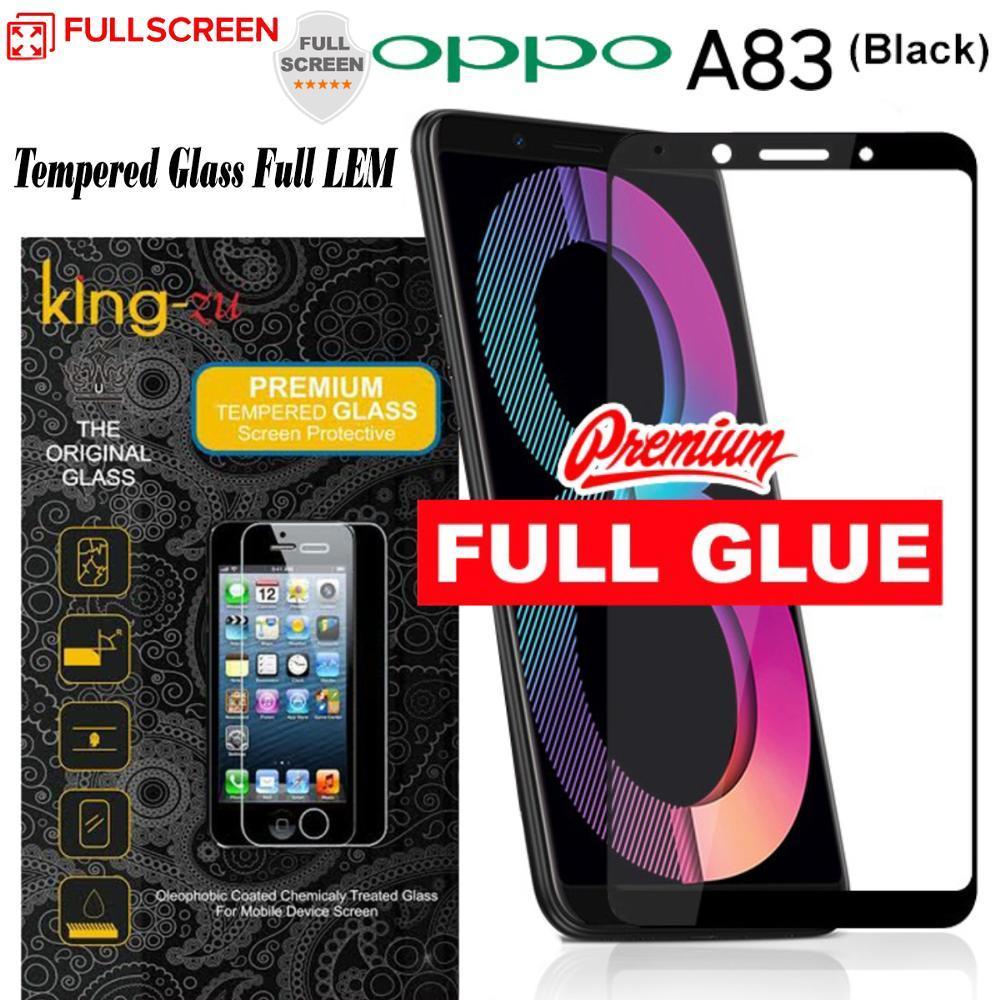 Anti Gores Kaca Full LEM King Zu OPPO A83 Full Cover Hitam Tempered Glass FULL GLUE