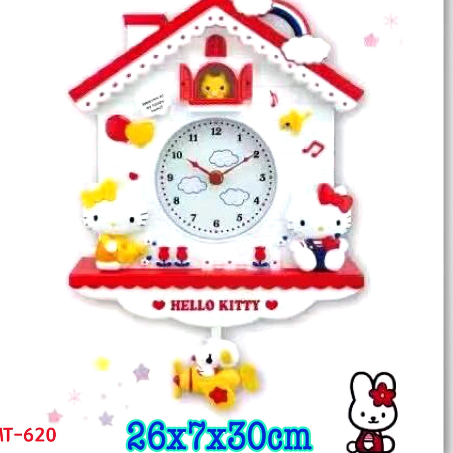 Jam Dinding Bandul Model Rumah Hello kitty MT620