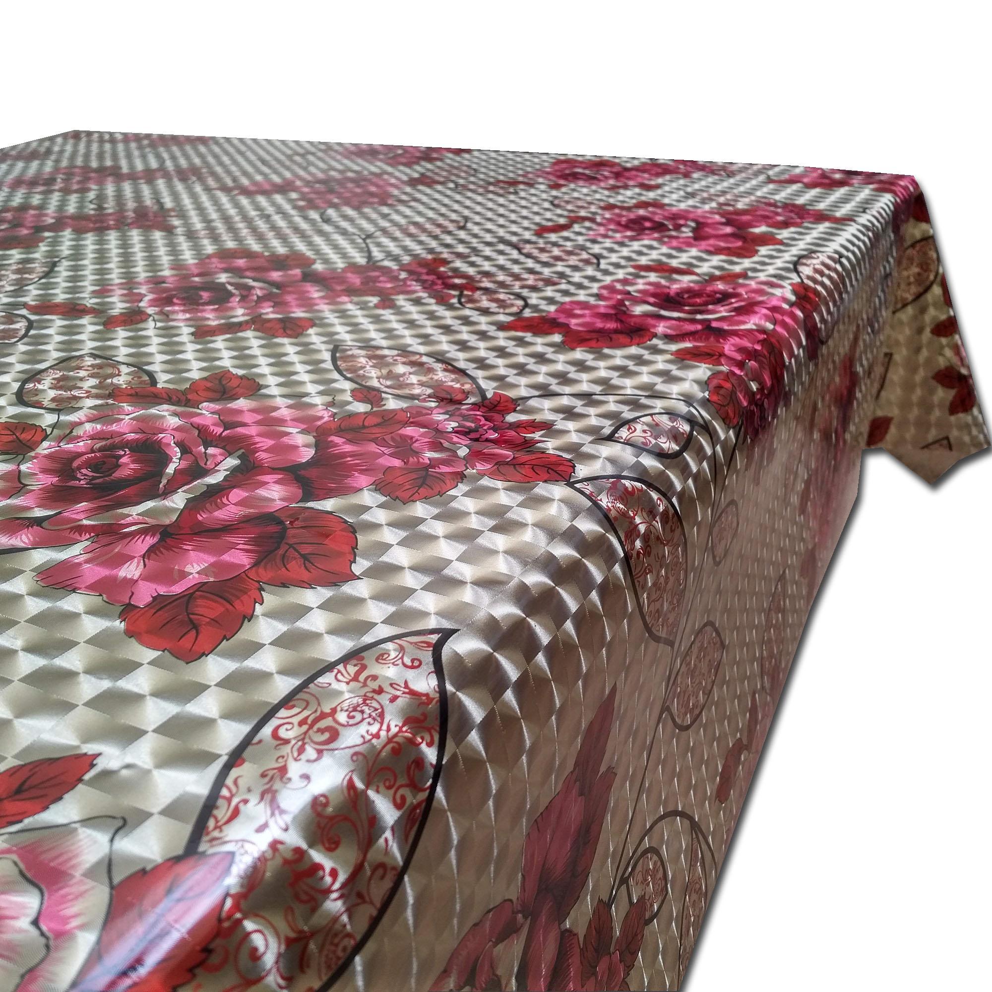 Detail Gambar Tren-D-home - Table Cloth / Taplak Meja Makan / Meja Ruang Tamu Plastik PVC Meteran - NY-02 Bunga Merah Kotak - NMs Terbaru