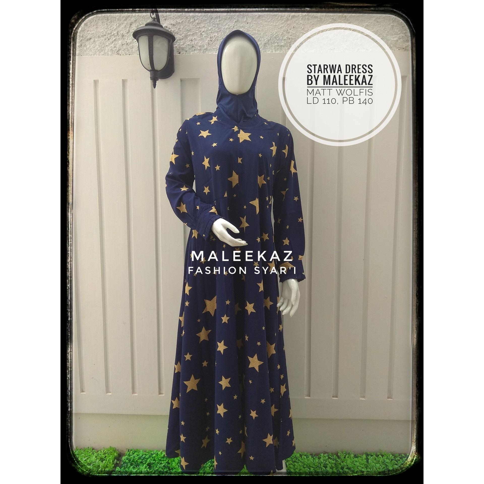 Spesifikasi Gamis Syari Maleeka Starwa Dress Navy Murah Berkualitas