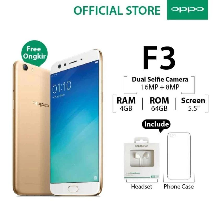 Oppo F3 Plus 4GB/64GB Gold – Smartphone Dual Selfie Camera (Garansi Resmi Oppo Indonesia, , Free Ongkir)