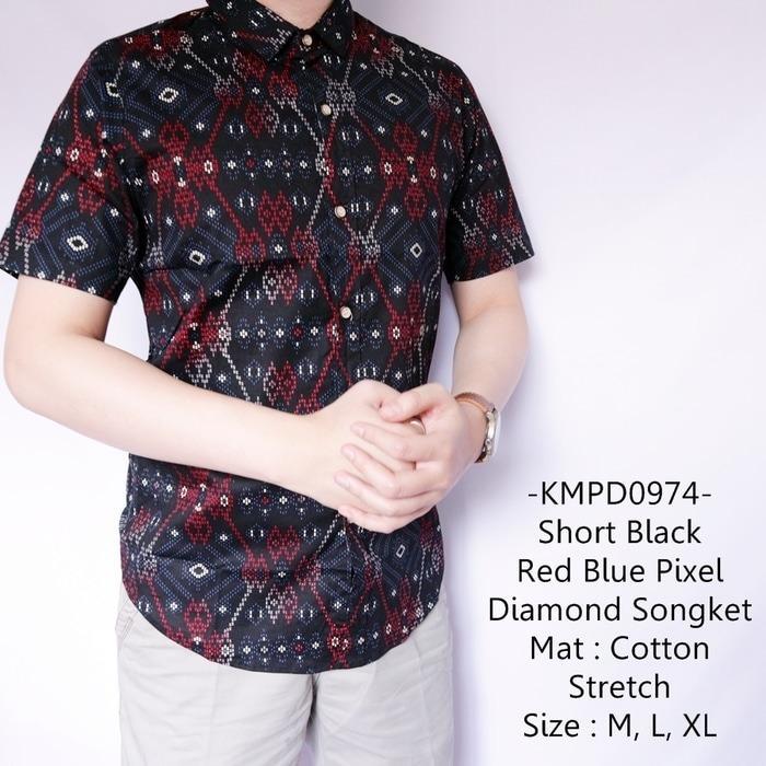 Spesifikasi Kemeja Pendek Casual Short Black Red Blue Pixel Diamond Songket 974 Merk Kemeja