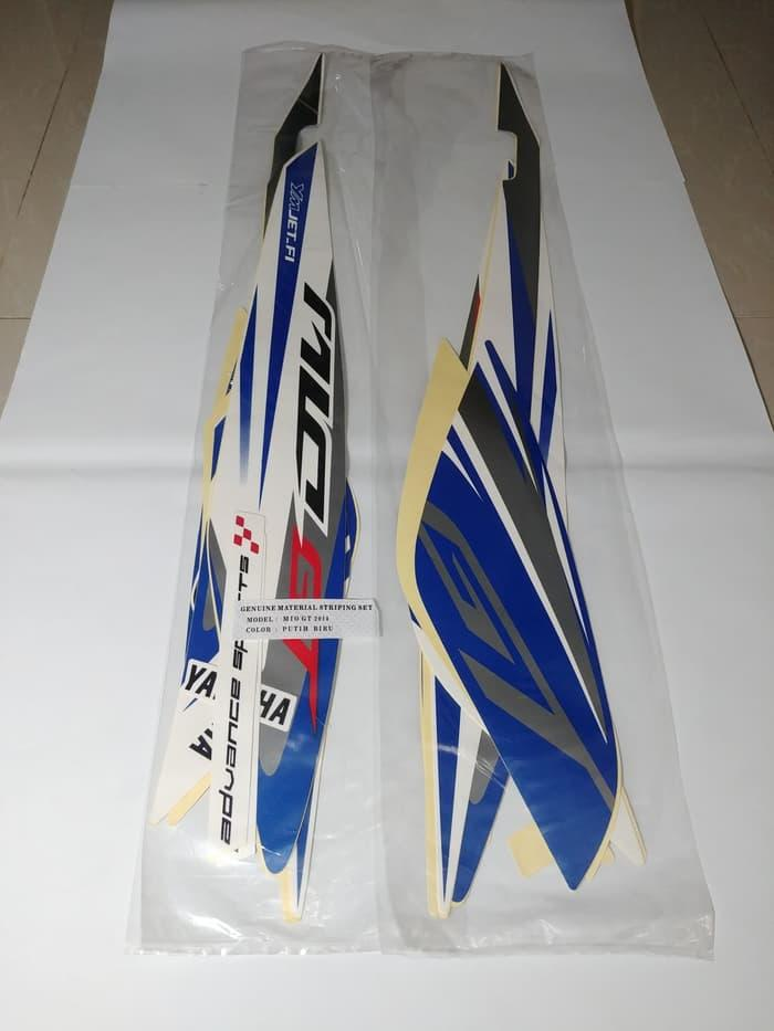 Stiker Bodi & Lis Body & Striping Mio Gt 2014 Putih Biru
