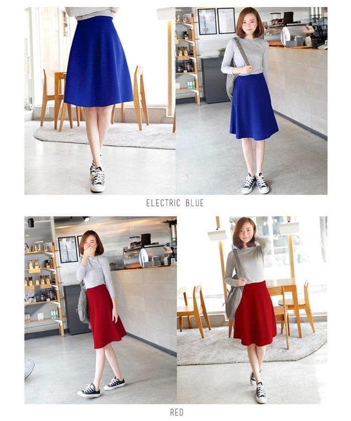 ... Midi Flare Skirt /Fashion Wanita / Rok Cewek / Rok Bahan Pendek - Hitam ...