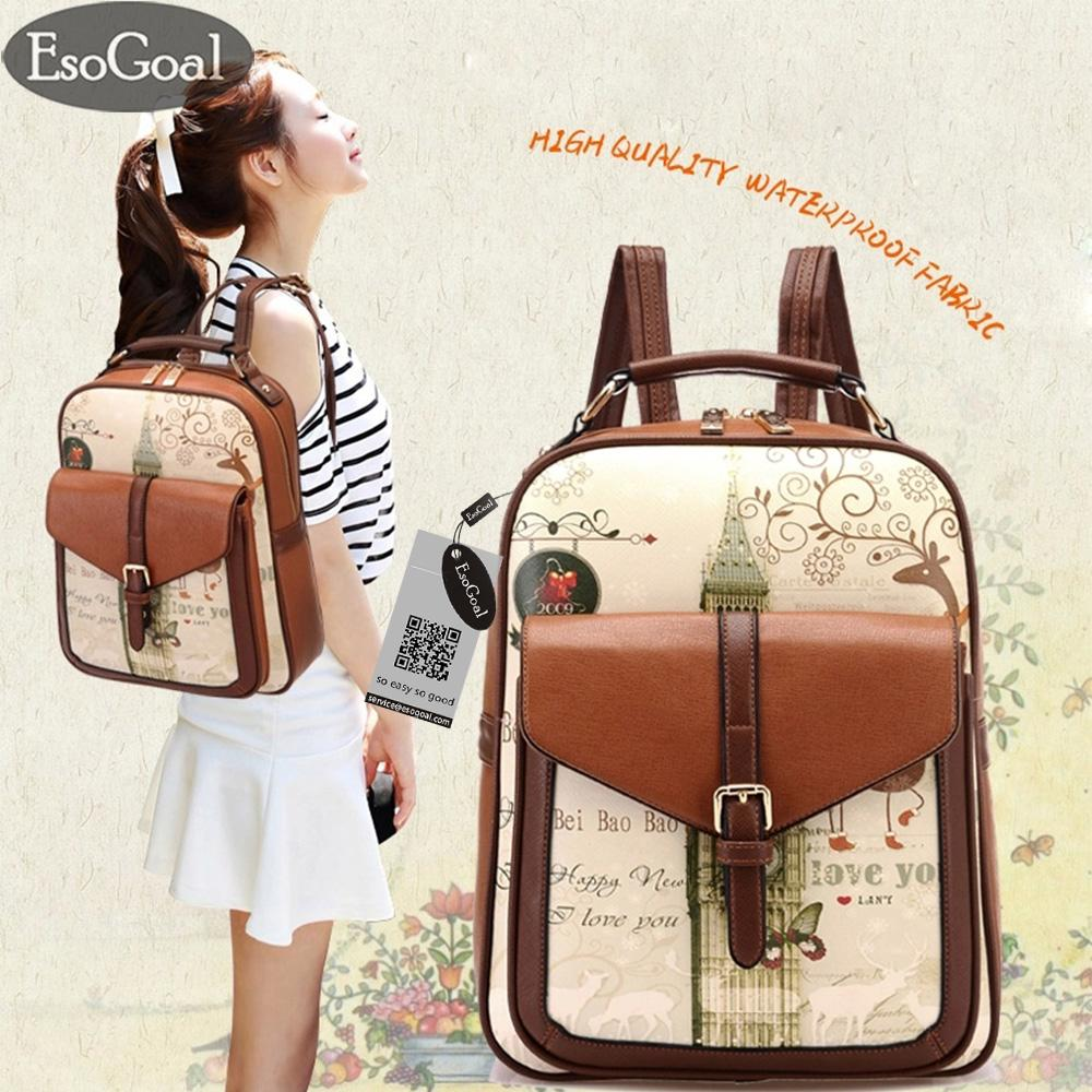Beli Esogoal Korea Womens Graffiti Printed Tote Handbag Shoulder Backpack Sch**l Bag Brown Yang Bagus