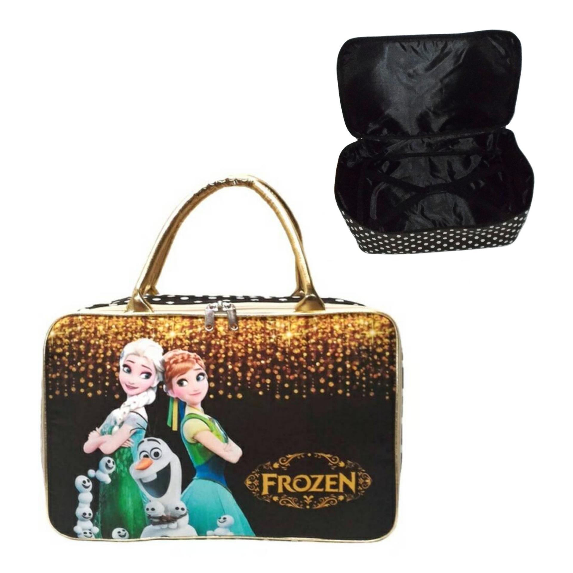 AMT Travel Bag Koper Anak Kanvas dengan Karet Pengikat Baju Frozen Hitam Gold