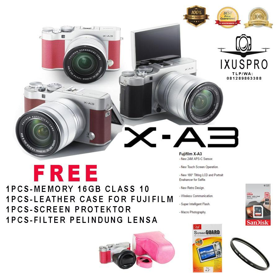 Promo Fujifilm X A3 Kit 16 50Mm Bonus 16Gb Leather Case Anti Gores Filter Fujifilm Terbaru