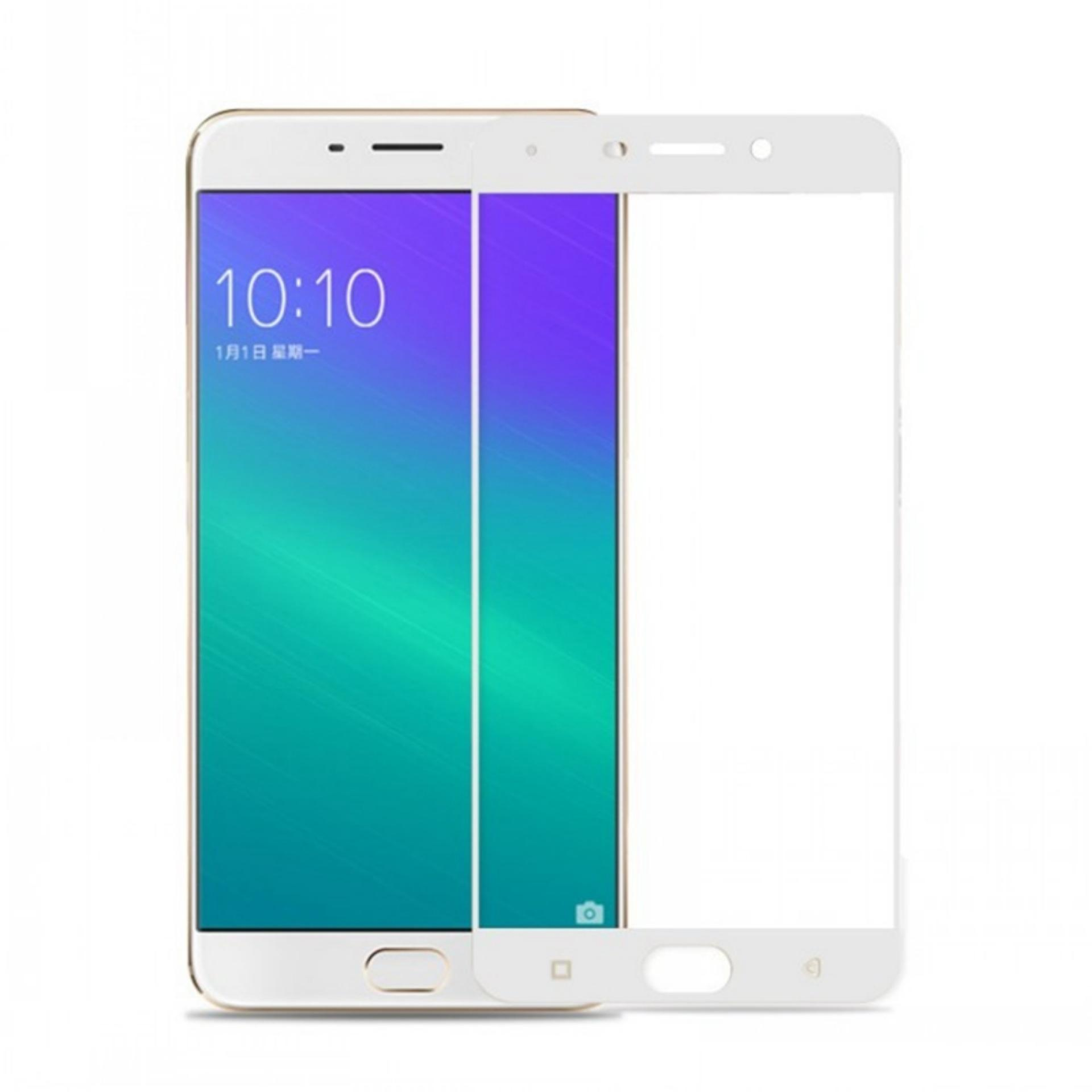 Tempered Glass Full White For Oppo F1s Selfie Expert A59 Anti Gores Log On Shock Screen Protector F5 Depan Kaca F1 Plus Putih