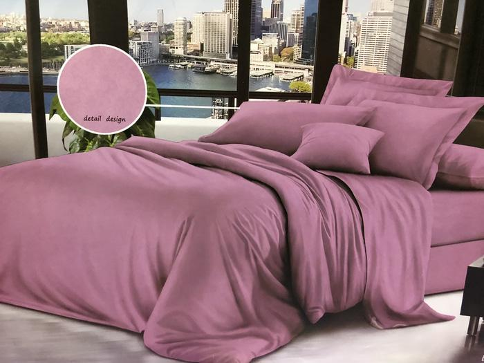 Bed Cover dan Sprei Katun Jepang Polos Hotel Rusty Pink - tgD5Yt