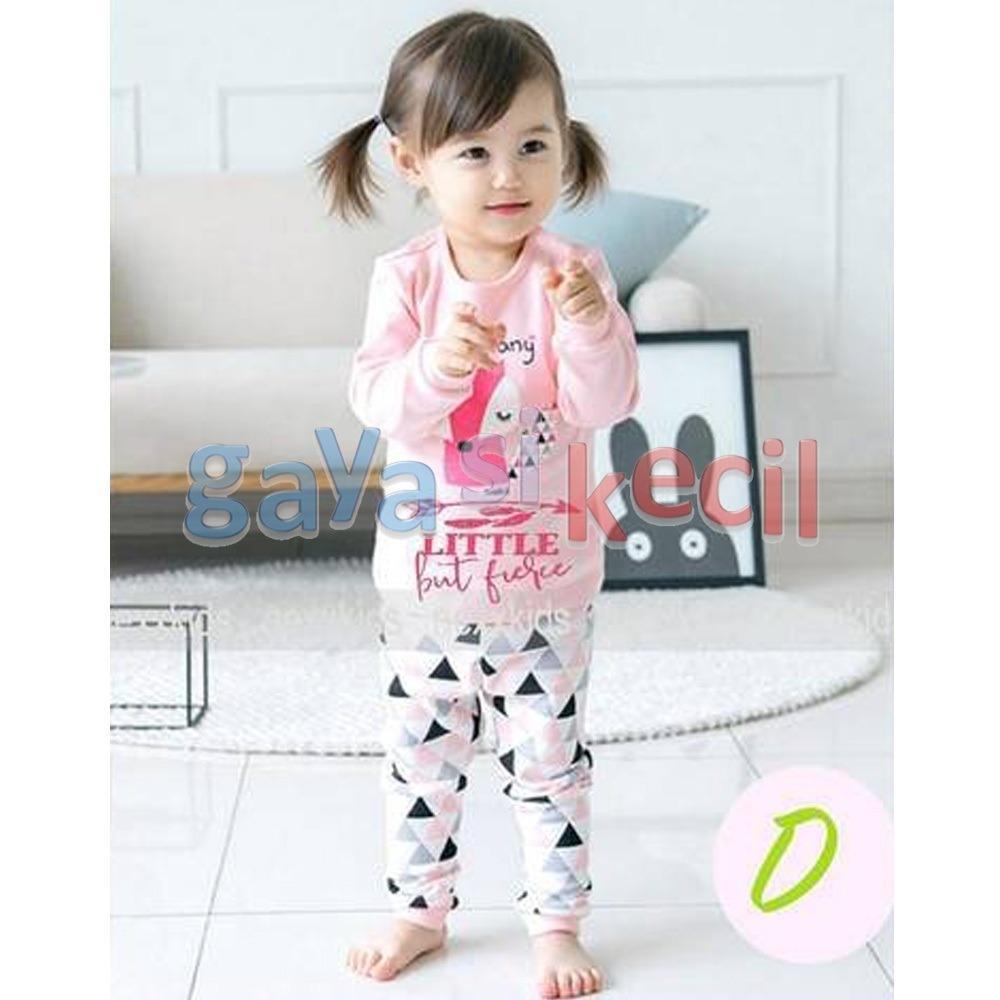 Gaya Si Kecil Piyama Anak Bayi Cewek Perempuan  Fox Pink size 6BLN-3TH