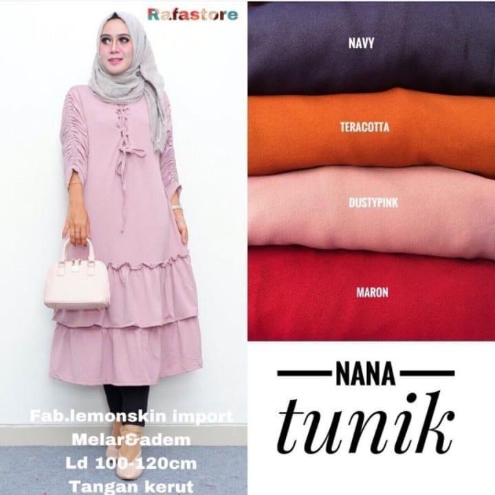 Baju Original Nana Tunik Balotely Pakaian Cewek Atasan Wanita Muslim Muslimah Blouse Panjang Simple Trend 2018