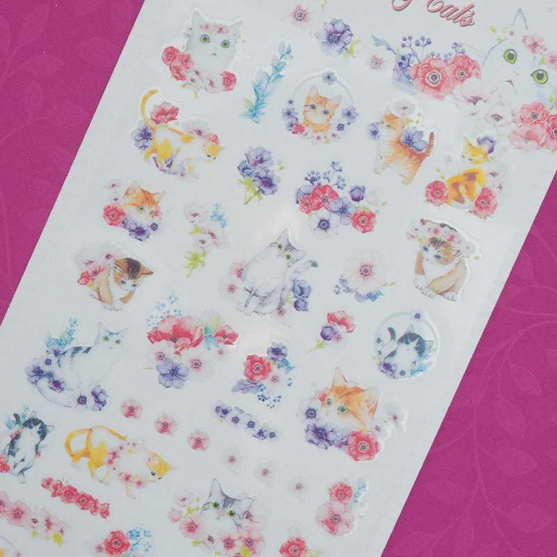 BEST SELLER Monet Anemone and Cats Diary Deco Stickers / Sticker Hiasan Buku HARGA TERMURAH