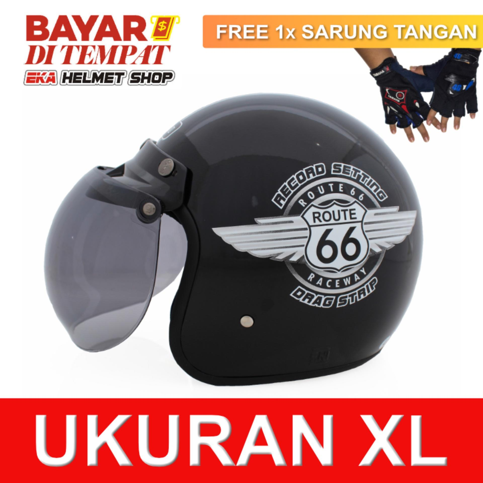 Harga Wto Helmet Retro Bogo 66 Hitam Promo Gratis Sarung Tangan Terbaru