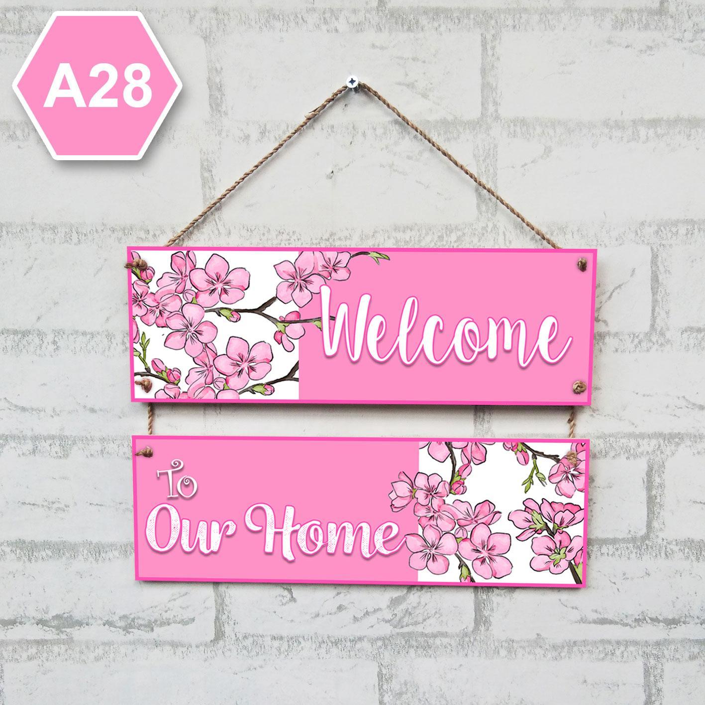 A28 Wall Decor Hiasan Dinding Gantung Susung Pink Bunga Sakura 2 Frame
