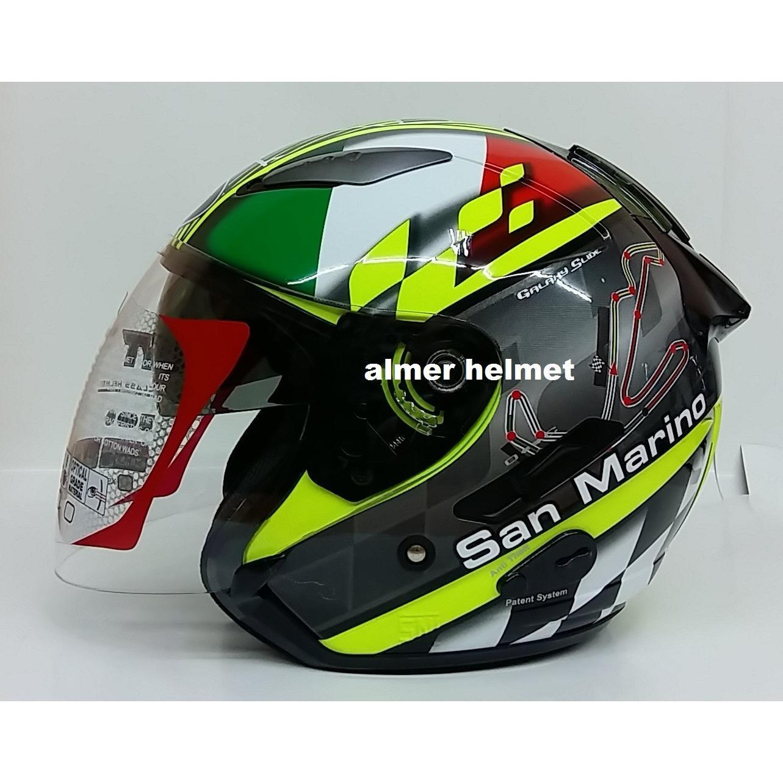 Spesifikasi Kyt Galaxy San Marino Helm Half Face Kuning Hijau Putih Merah Hitam Lengkap Dengan Harga