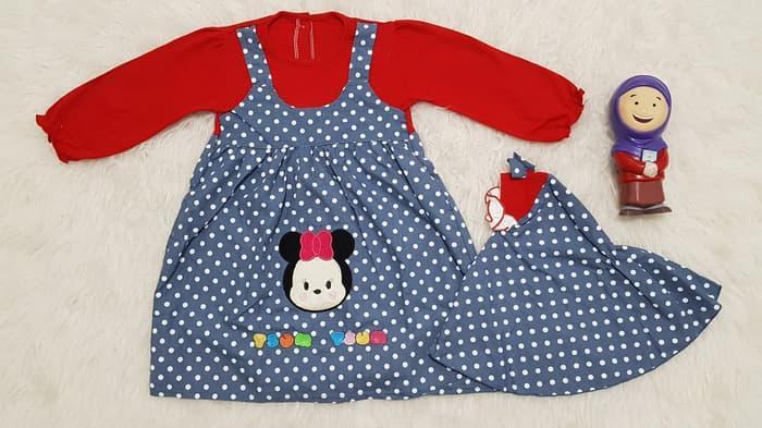 Baju Muslim Anak Bayi Perempuan Gamis Anak Set Kerudung TsumTsum Polk - baju gamis anak perempuan