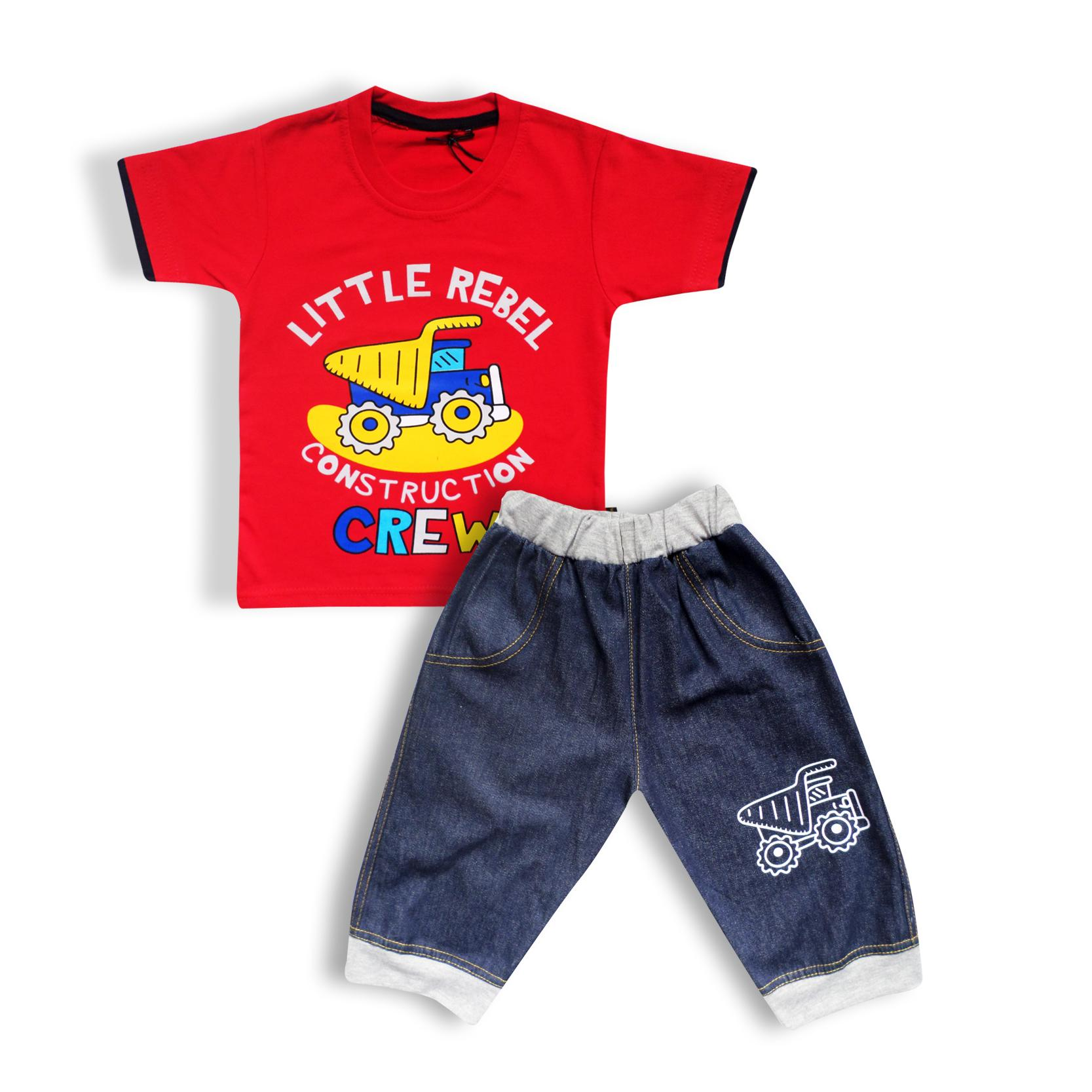 Waka Kids Pakaian Baju Anak Bayi Laki Oblong Tangan Pendek Stelan Jeans Celana Pendek 2621
