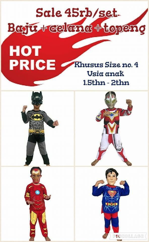 Sale Baju anak kostum superhero batman, powerranger , ultraman, Bima x