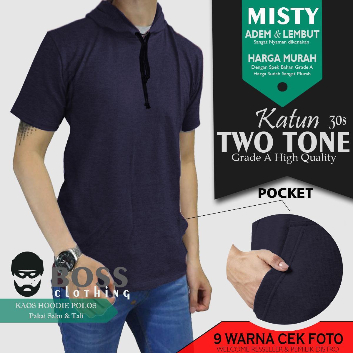 Features Kaos Polos Hoodie Pocket Lengan Pendek Pria Wanita T Shirt Twotone Navy Blue Distro Boss Clothing