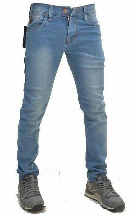 FG Celana Jeans skinny scrub - biru muda
