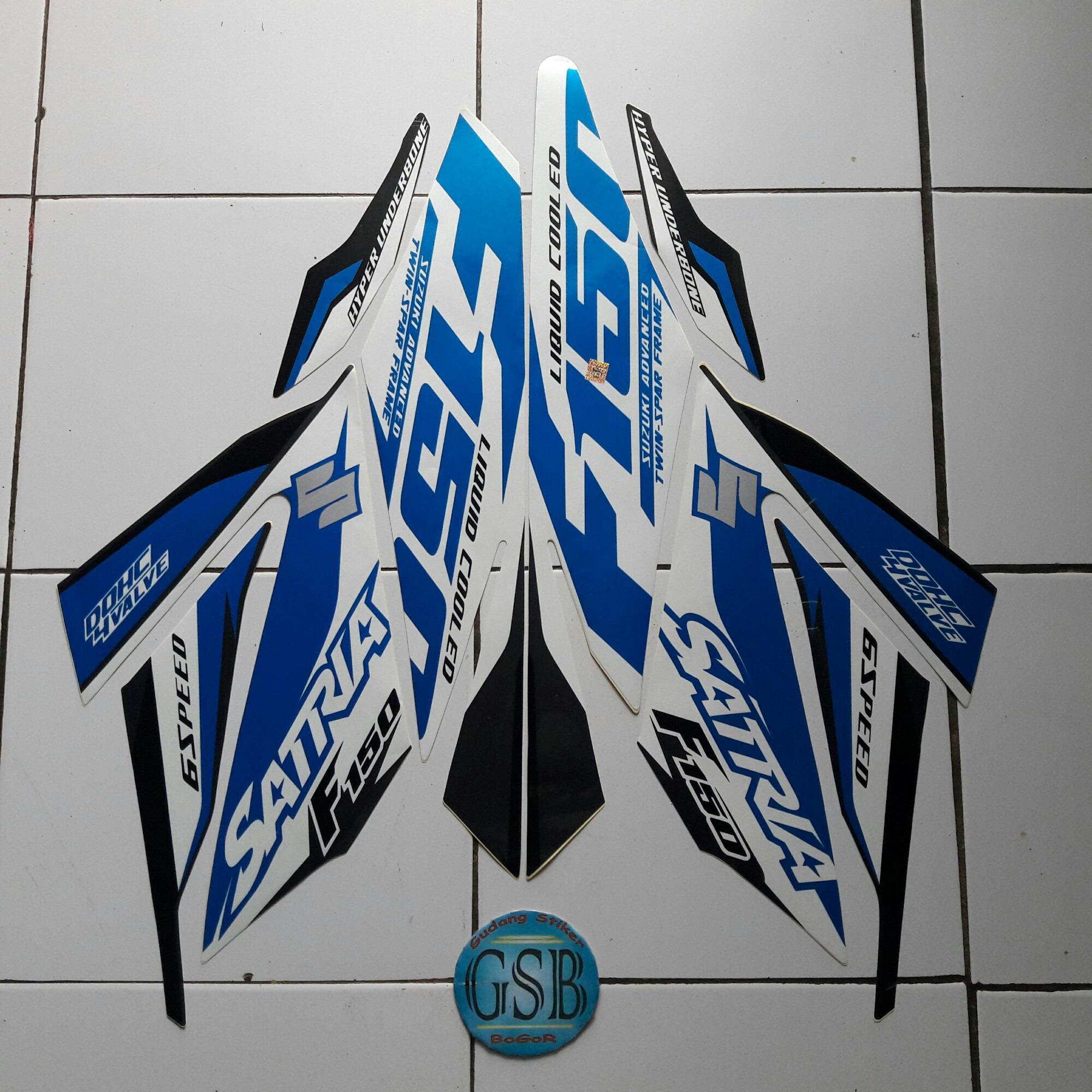 Stiker Striping Motor suzuki satria f150 2016 putih-biru-abu