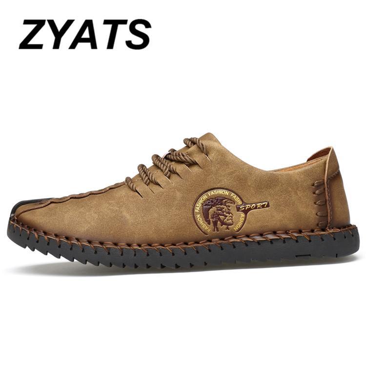 ZYATS Kulit Men's Flats Sepatu Moccasin Casual Loafers Slip-On Besar Ukuran 38-46 Kuning - 2