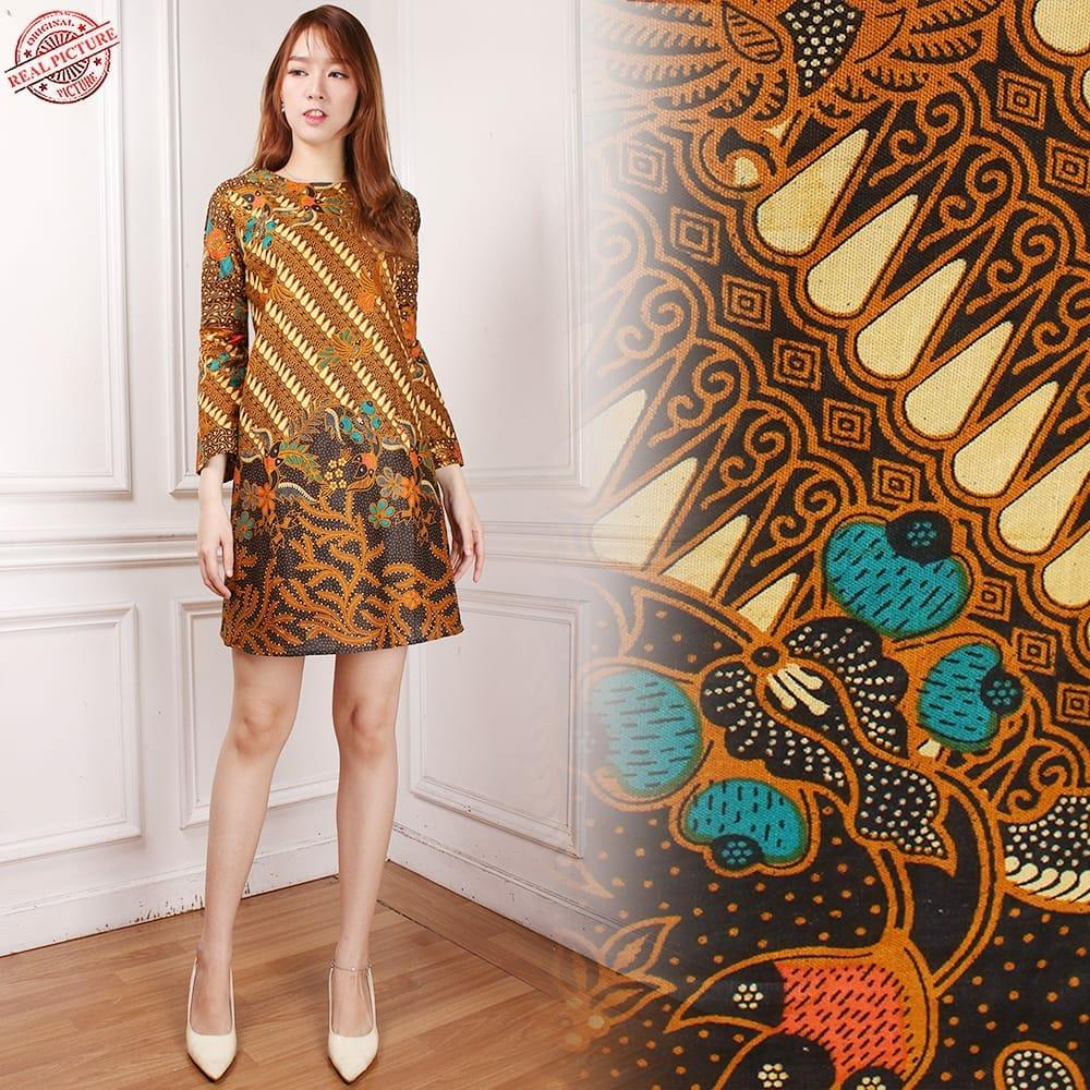SB Collection Atasan Tunik Rahayu Blouse Dress Batik Lengan Panjang Wanita M L XL Coklat