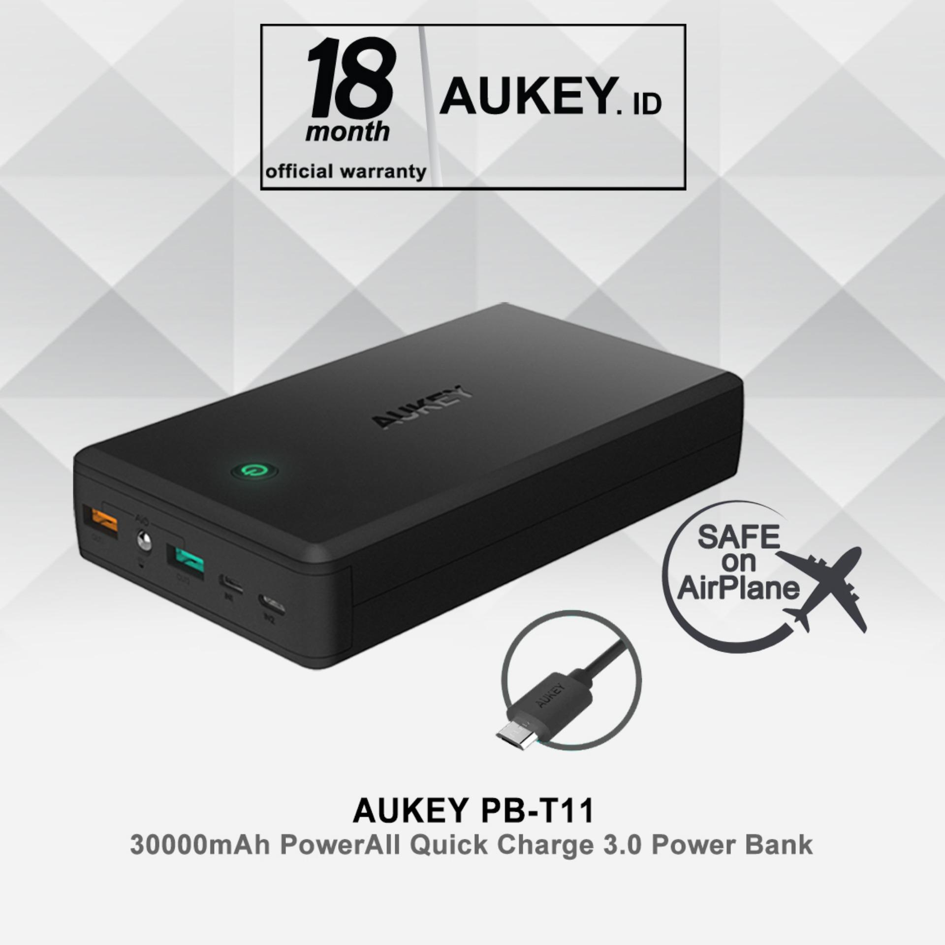Aukey PB-T11 30000mah PowerAll Quick Charge 3.0 Power Bank - Hitam
