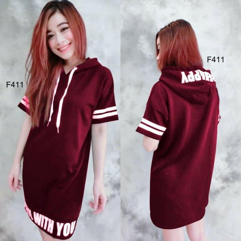 JS - Dress Happy Hoodie / Dress Wanita Casual / Dress Wanita Pendek / Baju Wanita
