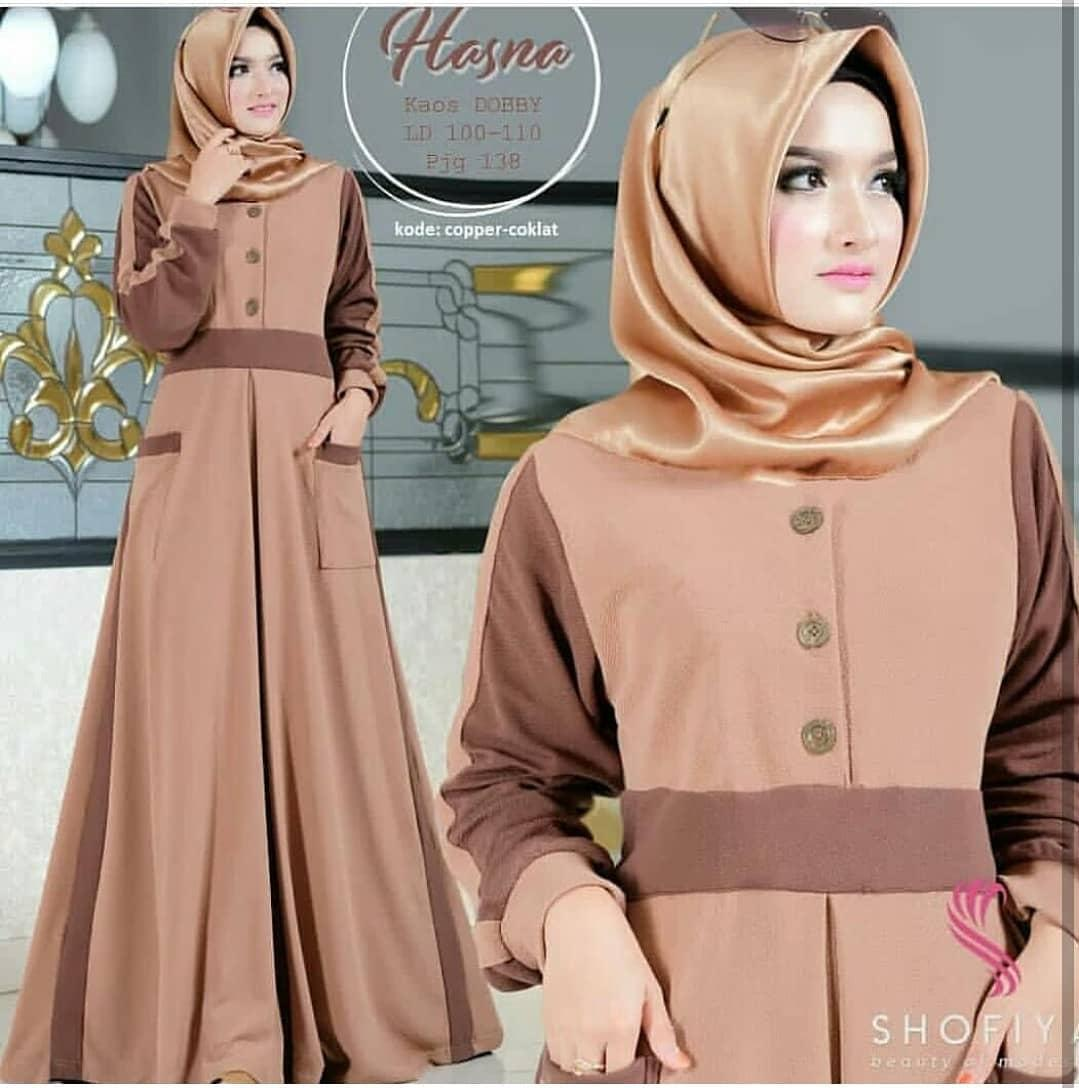 Baju Original Hasna Maxi Dress ER Bahan Balotelli Pakaian Wanita Muslim  Terbaru Fashionable 2018 54c1dea7ab