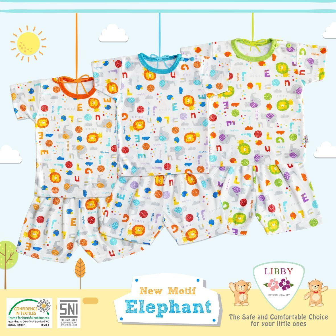 Baju Bayi 3 Stel Libby Pendek Kancing Pundak Size L