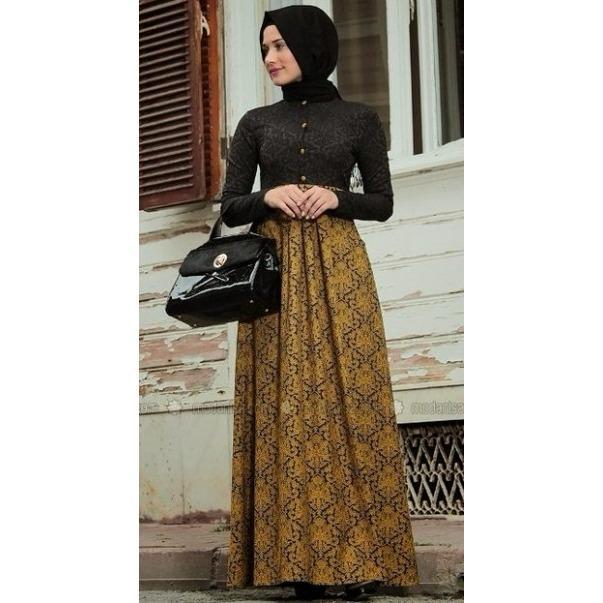 Beli Model Baju Gamis Batik Kombinasi Brokat Jual Gamis Terbaru