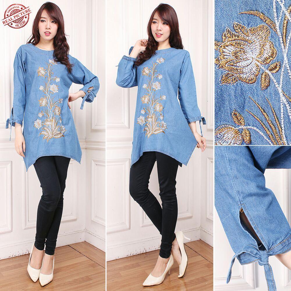 TJ Collection Atasan Blouse Mahania Kemeja Jeans Jumbo WanitaIDR97900. Rp 97.900