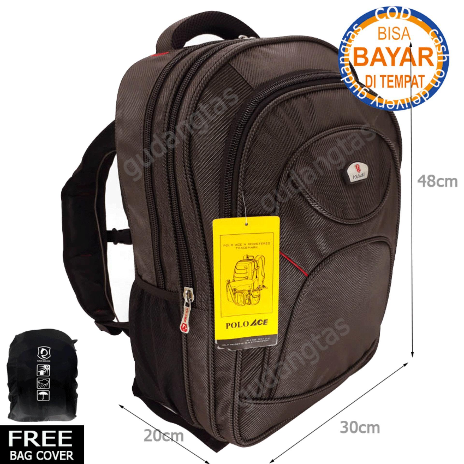 Polo Ace Tas Ransel Backpack 9085 laptop 14 inchi Coklat Pria Wanita GuDangTas Bonus Bag Cover